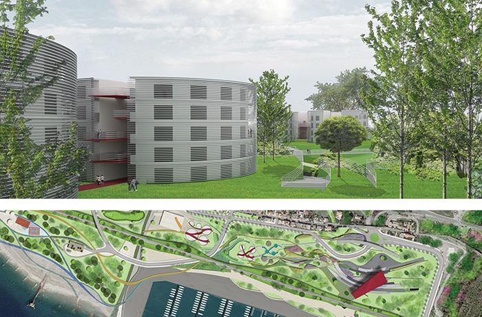 render e impaginazione tavole concorso internazionale di architettura